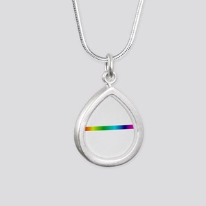 rainbow_stripe Silver Teardrop Necklace
