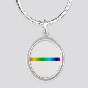 rainbow_stripe Silver Oval Necklace
