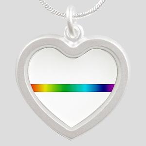 rainbow_stripe Silver Heart Necklace