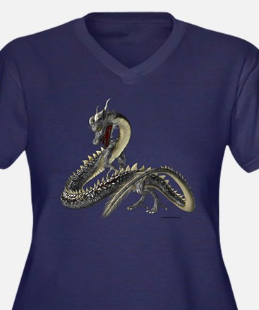 The Silver Dragon Women's Plus Size V-Neck Dark T-