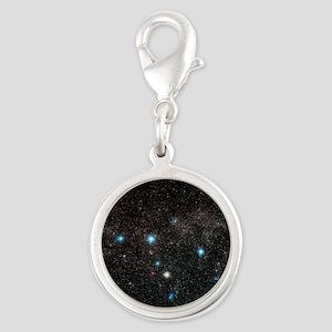 Cassiopeia constellation - Silver Round Charm