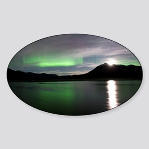 Aurora borealis and Moon - Sticker (Oval)