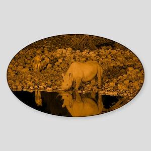 Black rhinoceros and lion - Sticker (Oval)