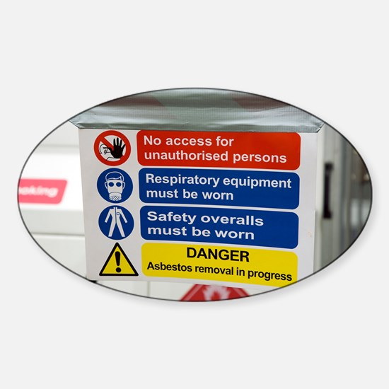 Asbestos removal warning signs - Sticker (Oval)