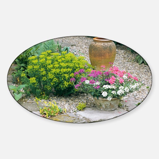 Garden flowers and plant pot - Sticker (Oval)