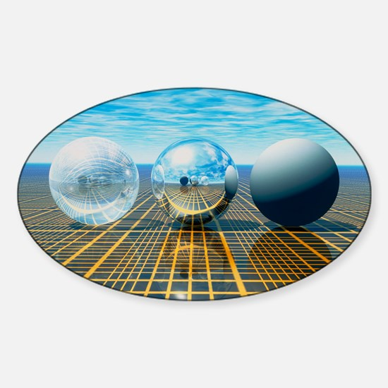 Light reflection from 3 spheres - Sticker (Oval)