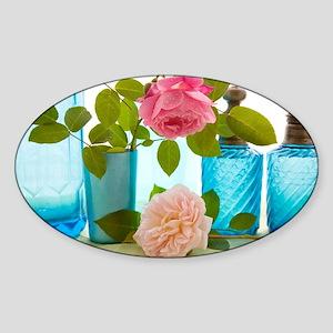 Rose flowers - Sticker (Oval)