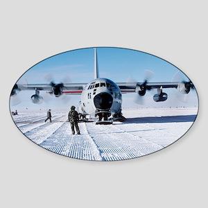 Antarctic airfield - Sticker (Oval)