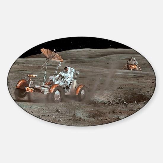 Apollo 16 lunar rover, artwork - Sticker (Oval)