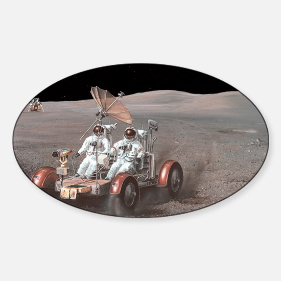 Apollo lunar rover, artwork - Sticker (Oval)