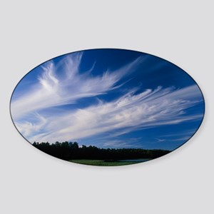 Cirrus 'Mare's tails' clouds - Sticker (Oval)