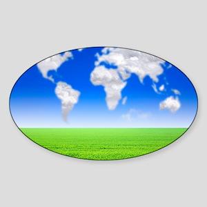 Cloud world map, artwork - Sticker (Oval)