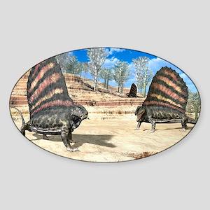 Dimetrodons, artwork - Sticker (Oval)