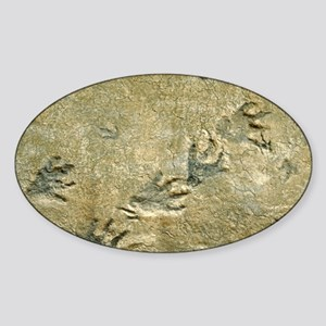 Dinosaur footprint fossils - Sticker (Oval)