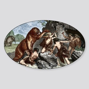 Early humans using weapons - Sticker (Oval)