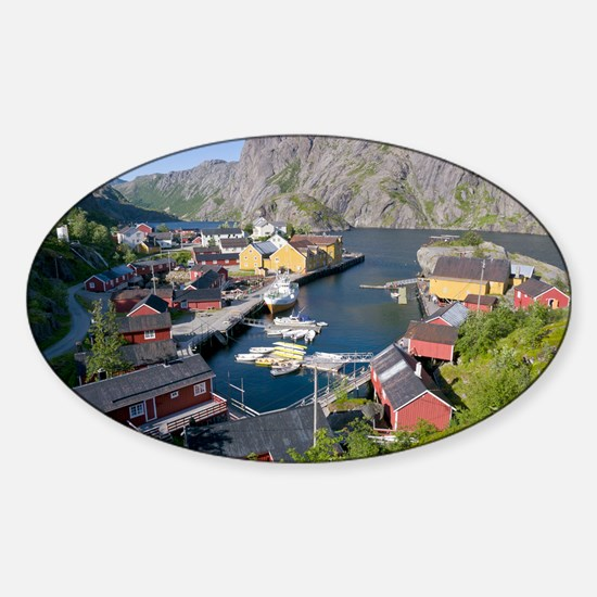 Fishing village, Norway - Sticker (Oval)