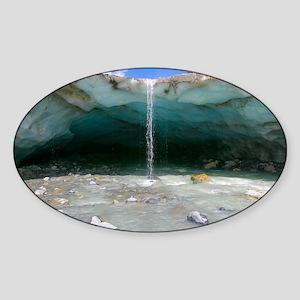 Glacial cave, Switzerland - Sticker (Oval)