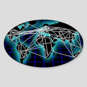 Global communications, artwork - Sticker (Oval)