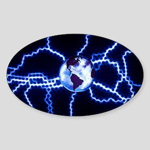 Globe on a plasma disk - Sticker (Oval)