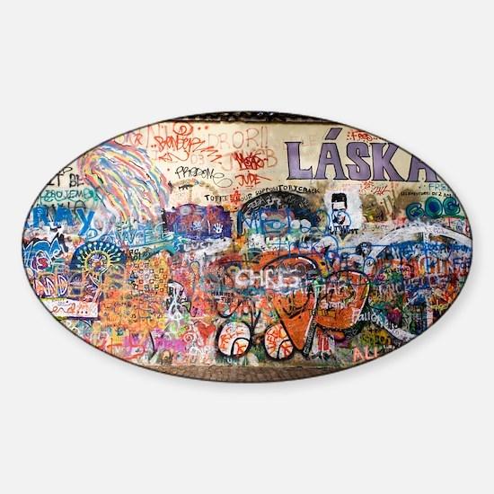 Lennon Wall, Prague - Sticker (Oval)