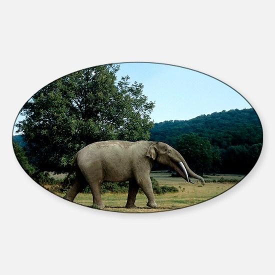 Prehistoric elephant, artwork - Sticker (Oval)