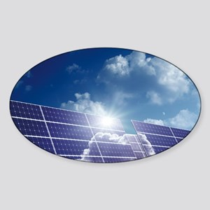Solar panels in the sun - Sticker (Oval)