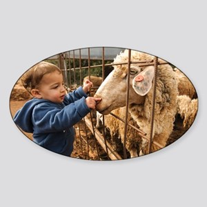 Toddler with a sheep - Sticker (Oval)