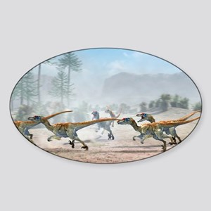 Velociraptor dinosaurs - Sticker (Oval)
