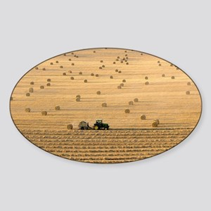 Tractor harvesting straw - Sticker (Oval)