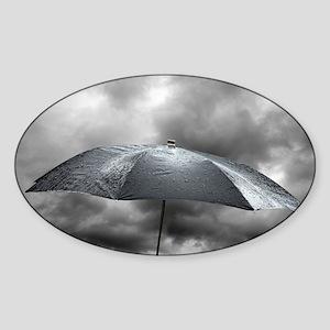 Wet umbrella, composite image - Sticker (Oval)