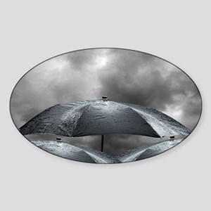 Wet umbrellas, composite image - Sticker (Oval)