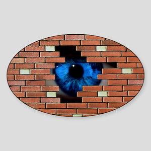 ole in brick wall - Sticker (Oval)