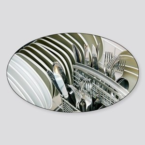Clean utensils in a dishwasher - Sticker (Oval)