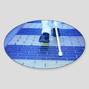 Blind man on a crossing - Sticker (Oval)