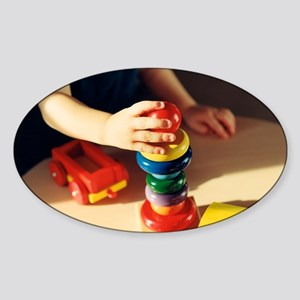 Boy playing - Sticker (Oval)