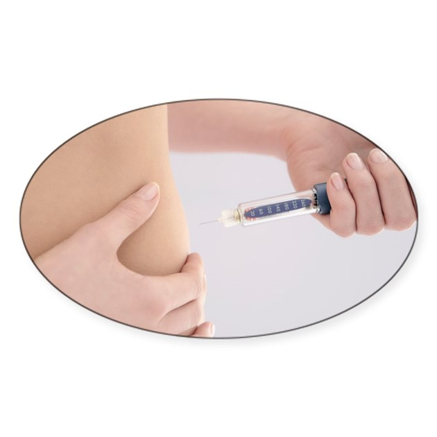 Diabetic Injection Sites: Sticker (Oval) By Sciencephotos