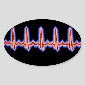 Heartbeat trace - Sticker (Oval)