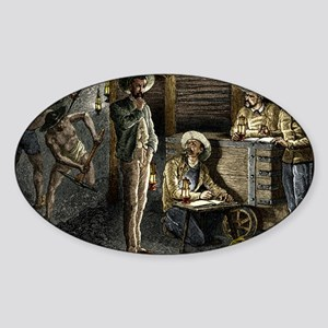 19th-century coal mining - Sticker (Oval)