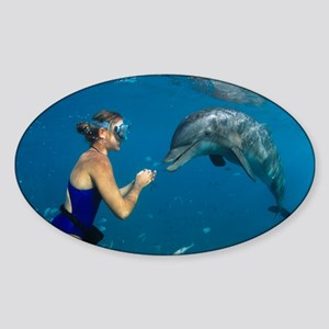 Bottlenose dolphin and swimmer - Sticker (Oval)