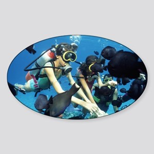 Child scuba divers - Sticker (Oval)