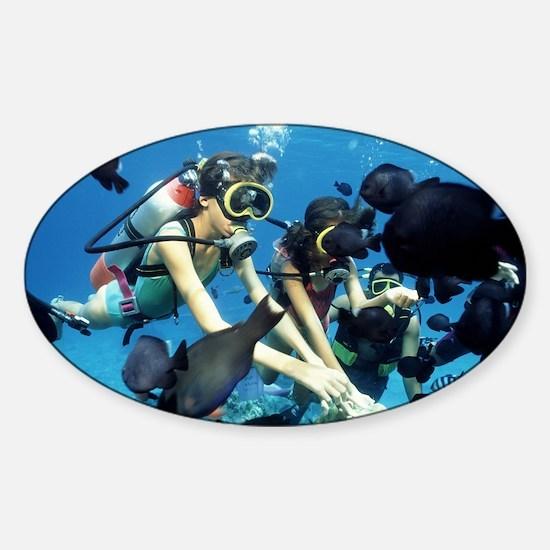Child scuba divers - Sticker (Oval)