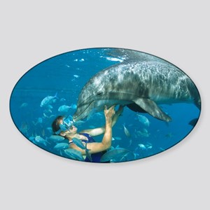 Dolphin and swimmer - Sticker (Oval)