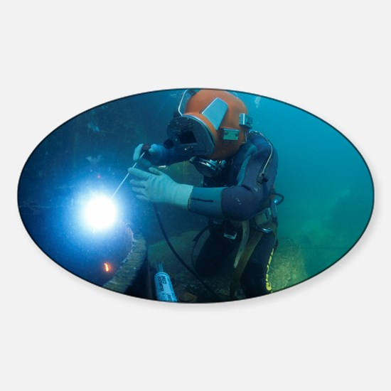 Commercial diver welding - Sticker (Oval)