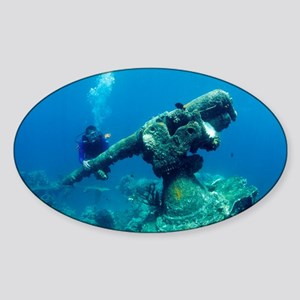 Diver with sunken gun - Sticker (Oval)