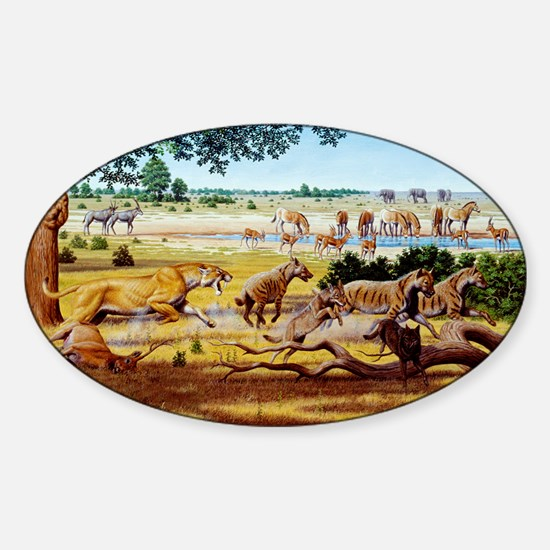 Hunting sabre-toothed cat - Sticker (Oval)