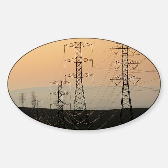Power lines - Sticker (Oval)