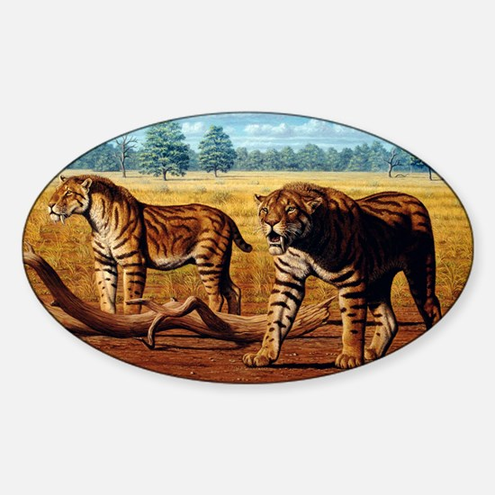 Sabre-toothed cats, artwork - Sticker (Oval)