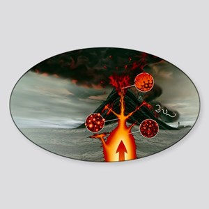 Volcanic eruption - Sticker (Oval)