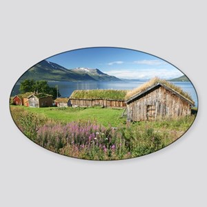 Turf roofed wooden huts, Norway - Sticker (Oval)