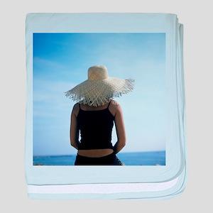 Woman sunbathing - Baby Blanket